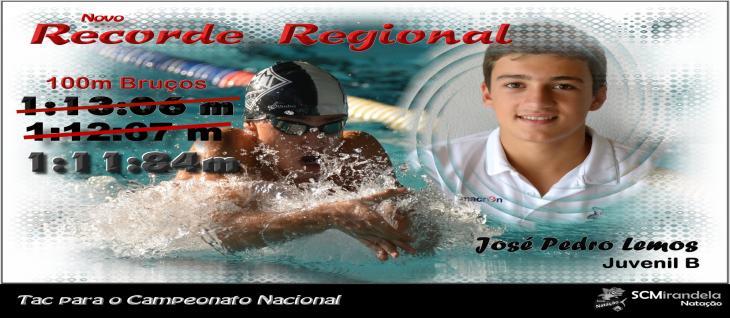 José Lemos Bate Recorde Regional 100m Bruços Juvenil B  1:11:84m